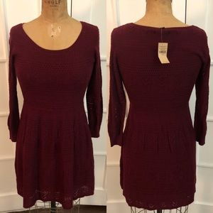 NWT American Eagle wine pointelle sweater dress